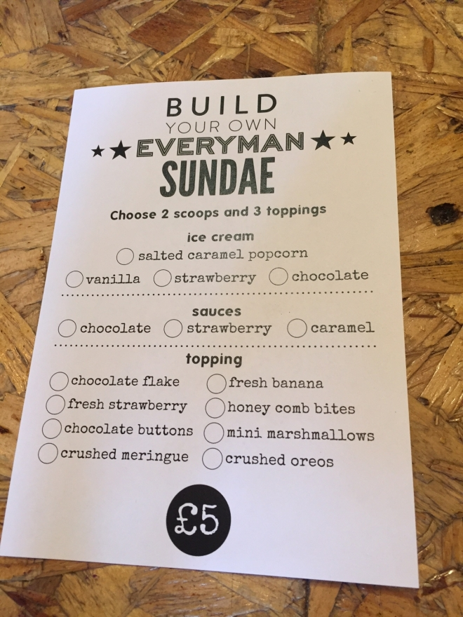 Everyman Sundae Menu