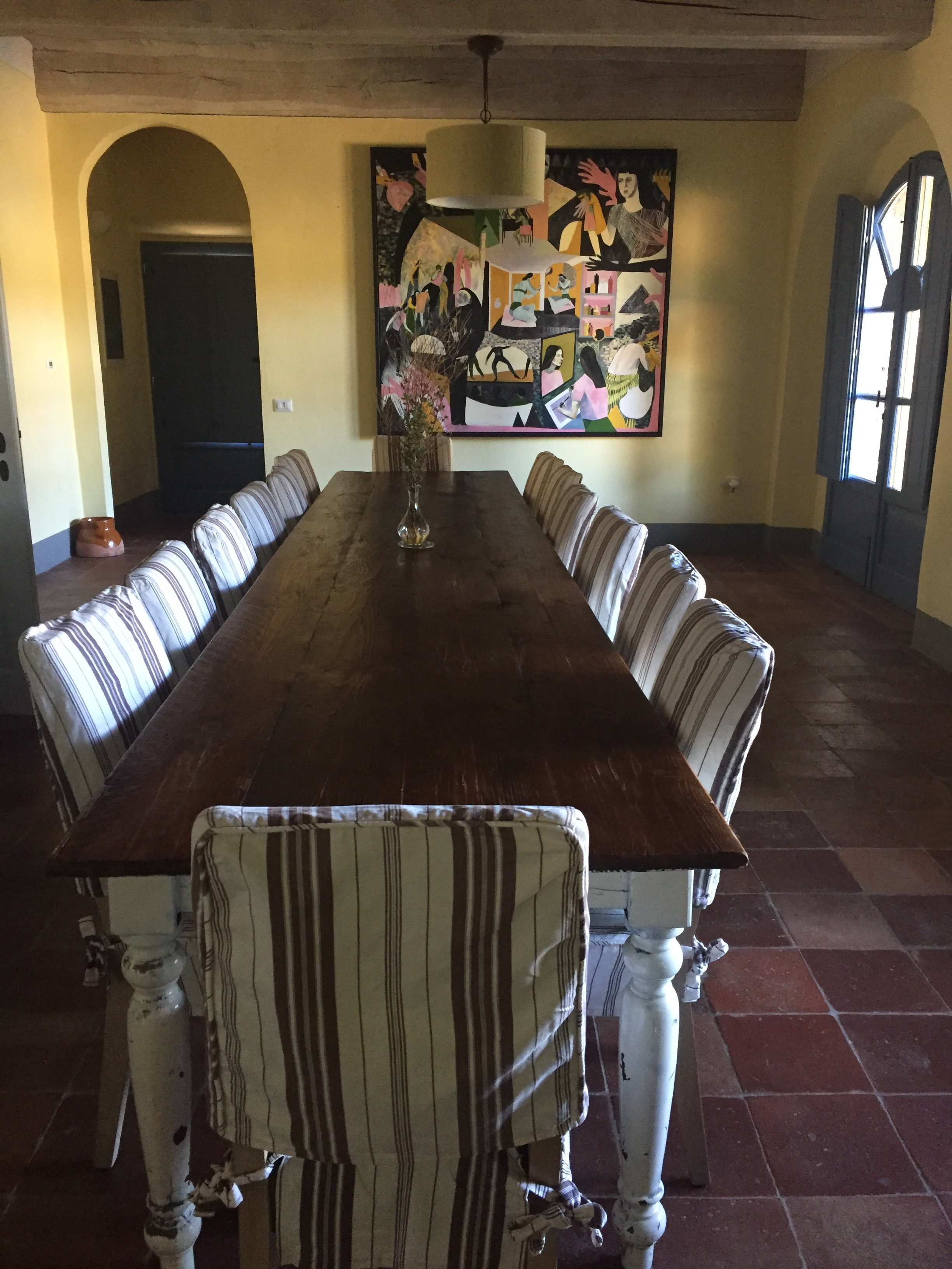 Dining table in the farm house