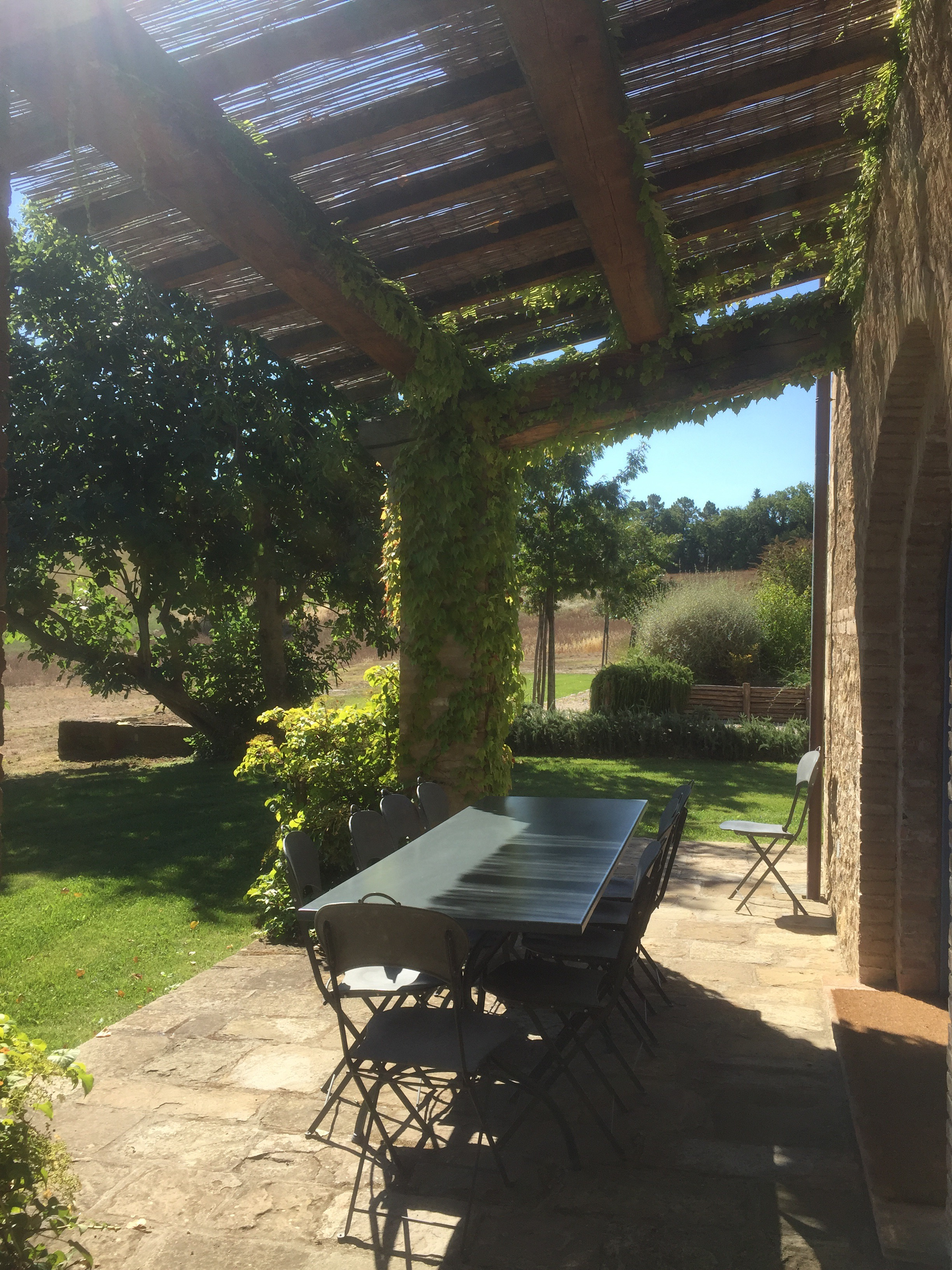Outdoor terrace at the farm house