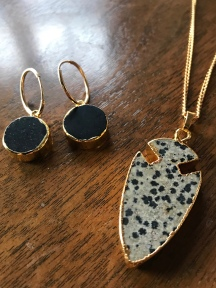 Semi Circle Earrings £49, Arrow Jade Pendant £38